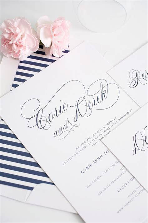 Navy Blue Wedding Invitations with Script Names and Green
