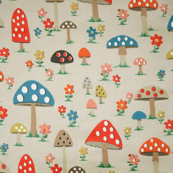 Oilcloth Fabric | Mushroom Oilcloth | CathKidston