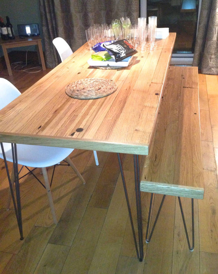 oak dining table reclaimed timber hairpin legs by wicked boxcar  notonthehighstreet.com