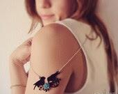 Birds silhouette necklace vintage Love Birds, flower necklace, birds on a wire, silhouette necklace woodland nature necklace jewelry sparrow - KandyDisenos