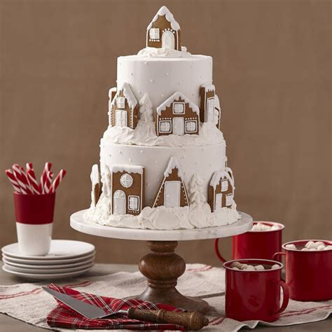 2 Tier Gingerbread Cake   Snowy Village   Wilton
