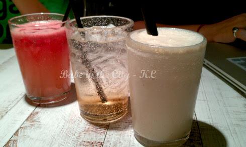 Watermelon juice, Peach Soda (RM6.90) & Peanut Butter Banana Milkshakes (RM9.90)