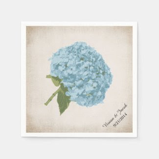 Blue Hydrangea Custom Wedding Napkins Disposable Napkin