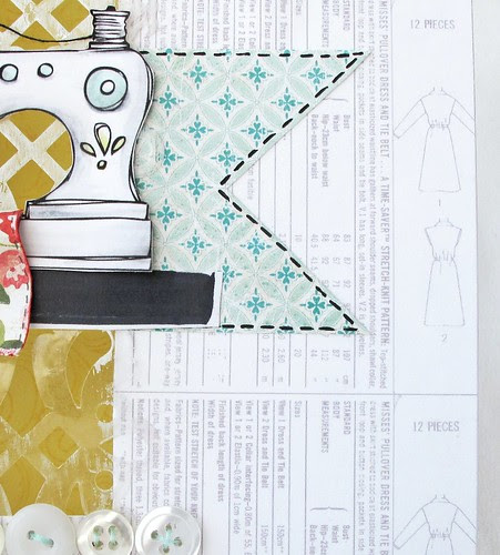 Vintage sewing pattern paper sample <span class=