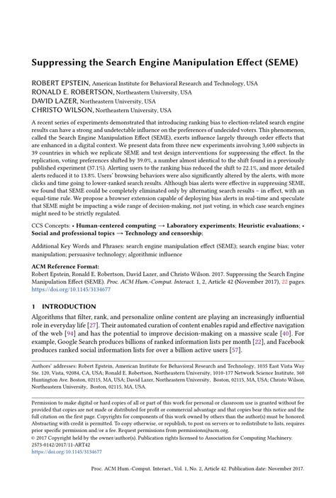 (PDF) Suppressing the Search Engine Manipulation Effect (SEME)
