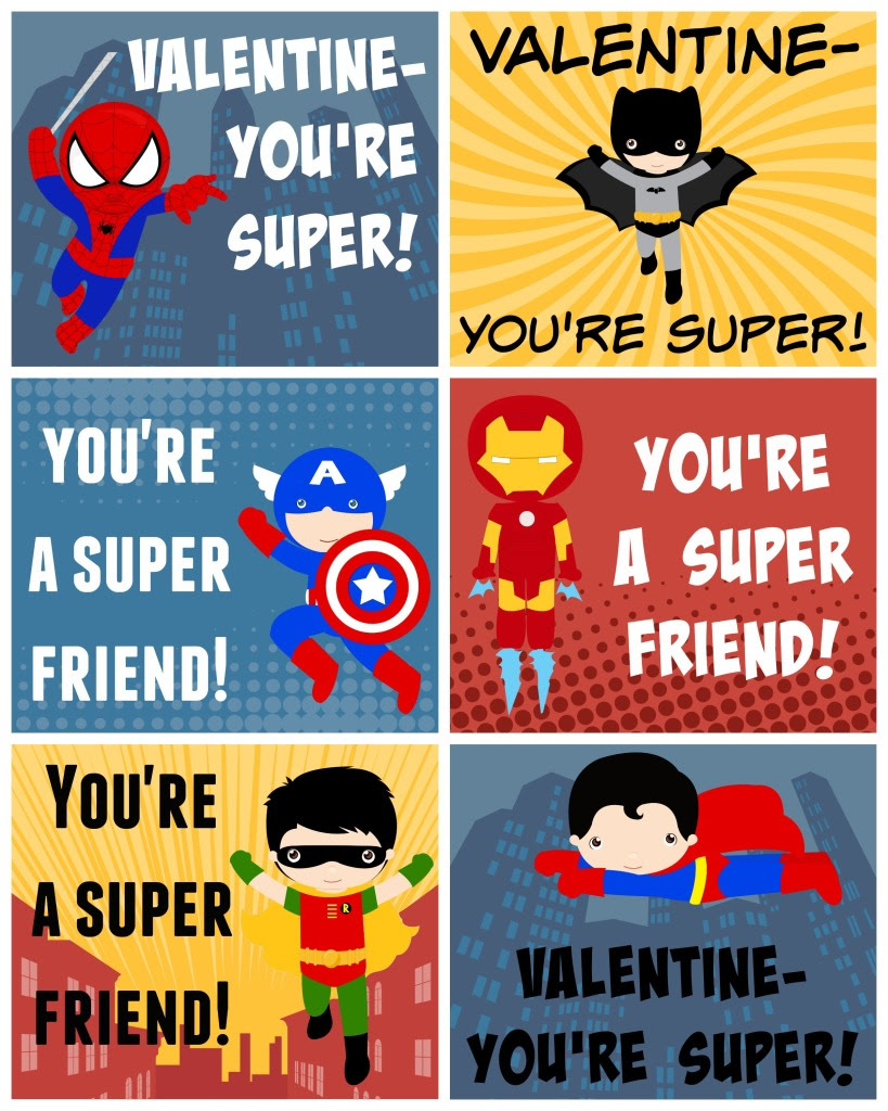 Free Printable Superhero Valentines - girlinthegarage.net