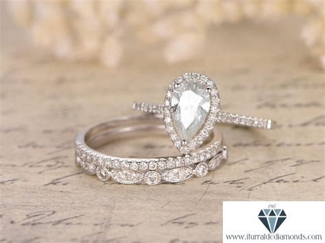 5x7mm Pear Shaped Moissanite Engagement Ring Set Two