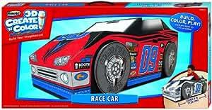 Amazon.com: RoseArt 3D Create 'N' Color Cardboard Race Car ...