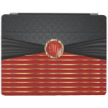 Elegant Deep Red and Metallic Gold Pattern iPad Cover