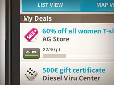 Android app daily deals interface design