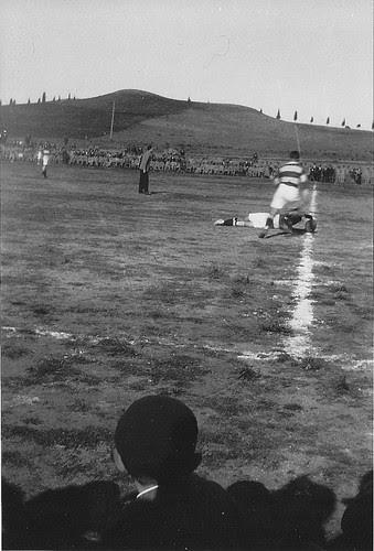 Partido de Rugby en la Escuela de Gimnasia de Toledo, años 20.  Fotografía de Eduardo Butragueño Bueno