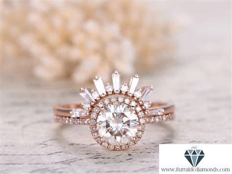 7mm Round Cut Moissanite Engagement Ring Set Diamond Halo