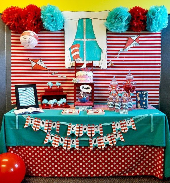 love this table setup- red & white stripe backdrop, light blue table cloth