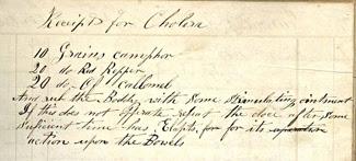 Receipt (recipe) for cholera (SAFR 14200/HDC 91)