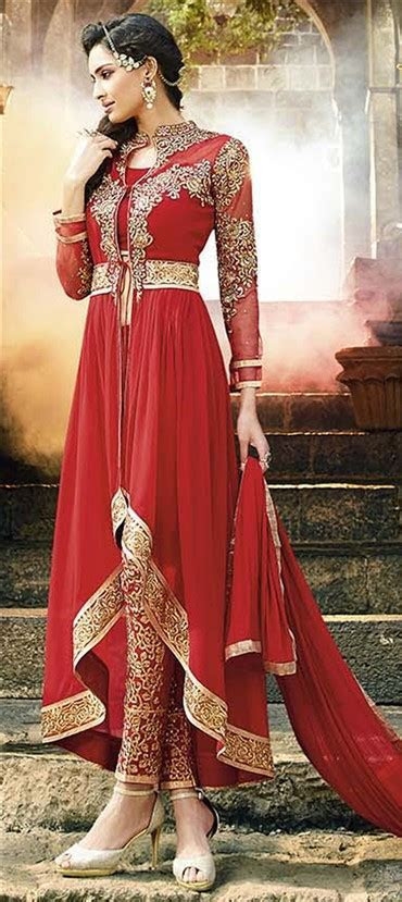 434066: Red and Maroon color family stitched Party Wear
