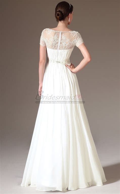Bateau Neckline Chiffon , Lace White Long Bridesmaid Dress