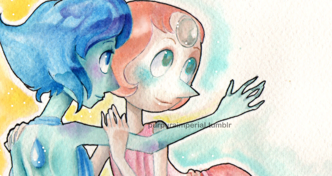 Ocean Gems. Lapis x Pearl. The last work of the year. Watercolor.