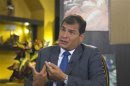 Ecuador's President Rafael Correa gestures during an interview with Reuters in Portoviejo