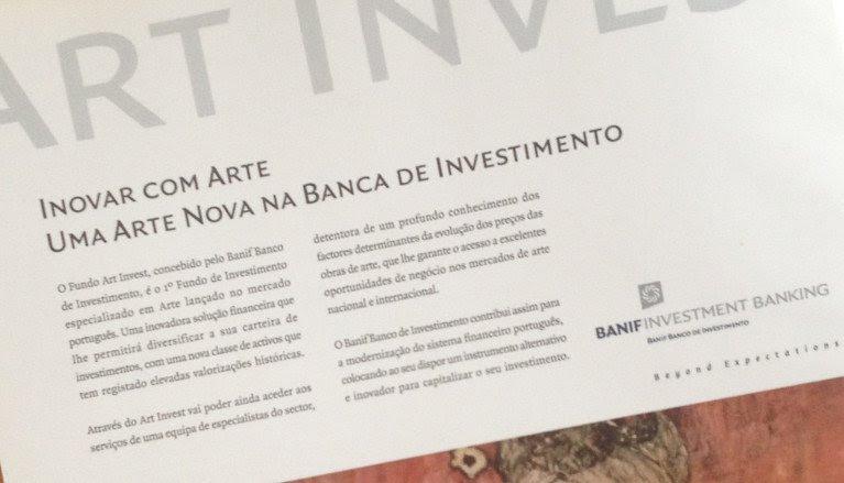 Publicidade do Art Invest