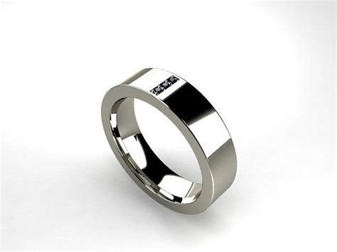 Titanium ring Black diamond Men wedding band by