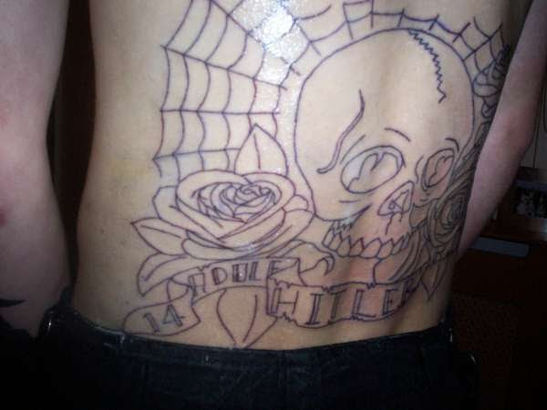 Old Skool Skull With Roses Side View Tattoo