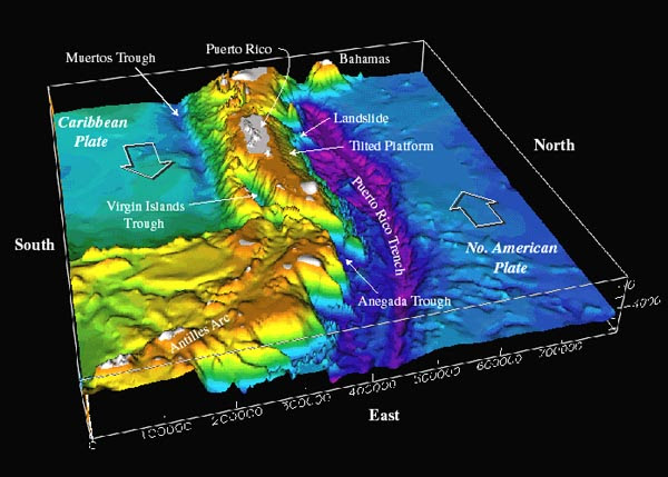 Bathymetry of the northeast corner of the Caribbean plate