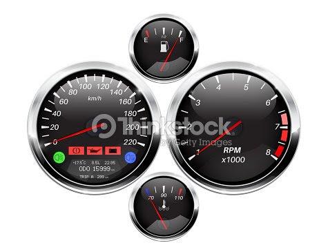 Car Dashboard Black Round Gauges With Chrome Frame Vector Art