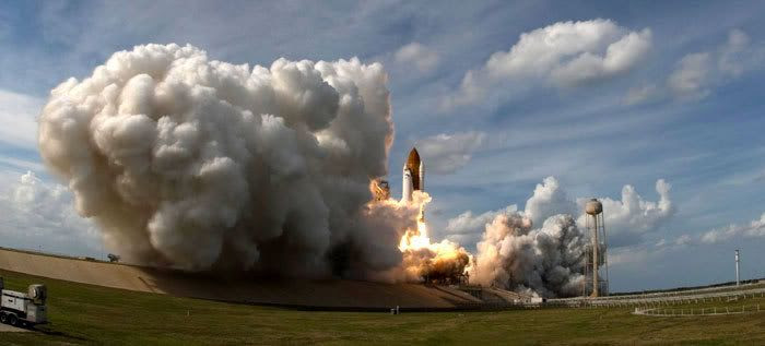 Space shuttle Atlantis lifts off from Florida's Kennedy Space Center on flight STS-122 on February 7, 2008.  Astronauts onboard the shuttle will attached the European Space Agency's Columbus science lab to the International Space Station.