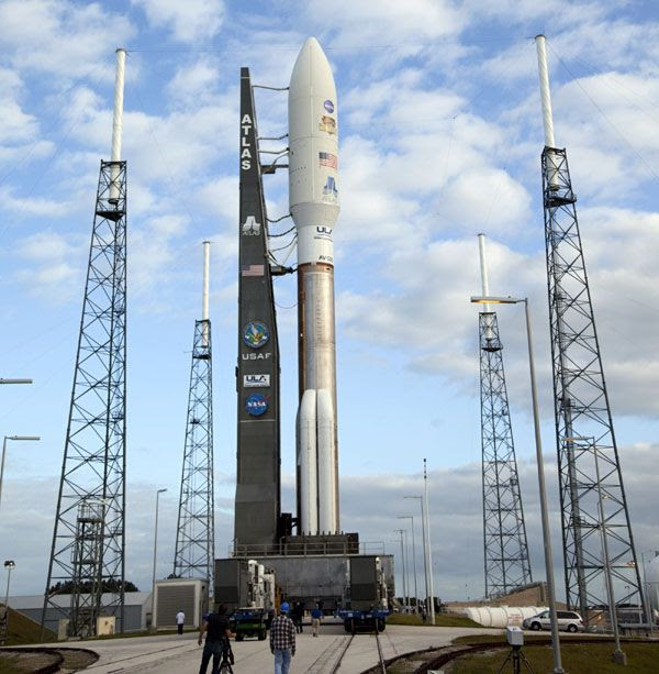 The Atlas V rocket is poised for launch at SLC-41 at Cape Canaveral Air Force Station in Florida, on November 25, 2011.
