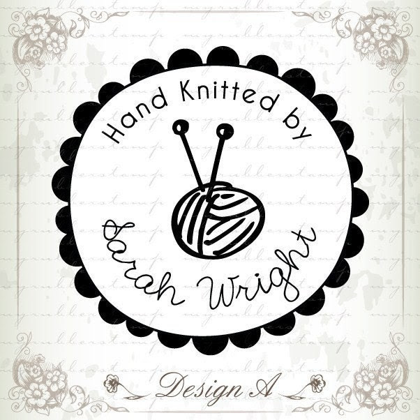 Hand Knitted by Your Name (Clear Rubber Stamp) - Personalize with your own texts. Item 1026