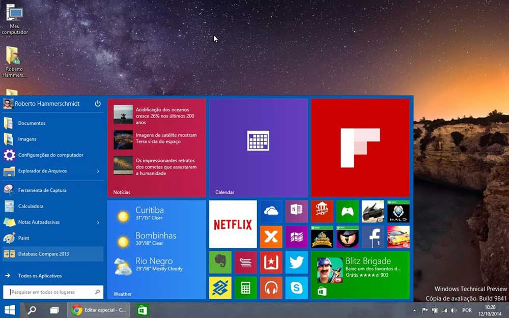 windows 10 home interface