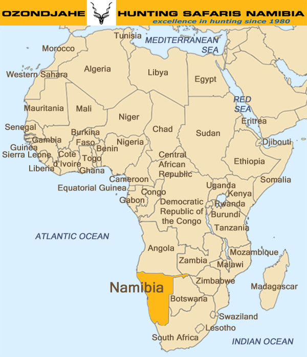 Namibia On Map Of Africa | Map Of Africa