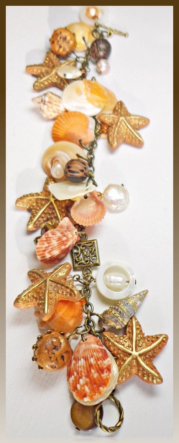 Chain Bracelet Florida Shell and Starfish polymer clay jewelry...available in my Etsy shop..shells gathered from Casey Key beach