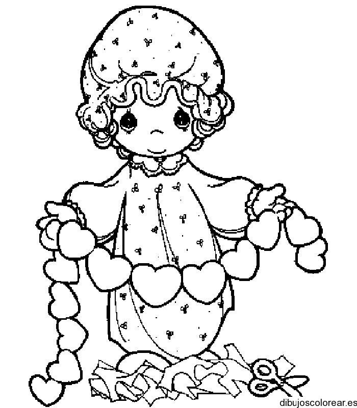 Dibujo De Una Niña Con Pequeños Corazones