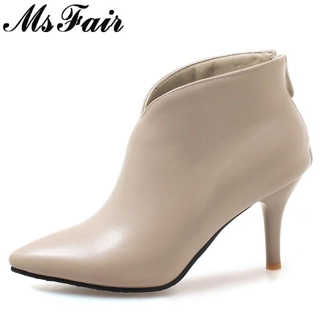 Kopen Goedkoop MsFair Vrouwen Laarzen Schoenen Vrouw Mode Metalen Rits Enkellaars Elegante Korte Pluche Sexy Dunne Hakken Voor Meisje Online