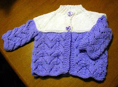 Ripple Eyelet Baby Sweater Knitting Pattern