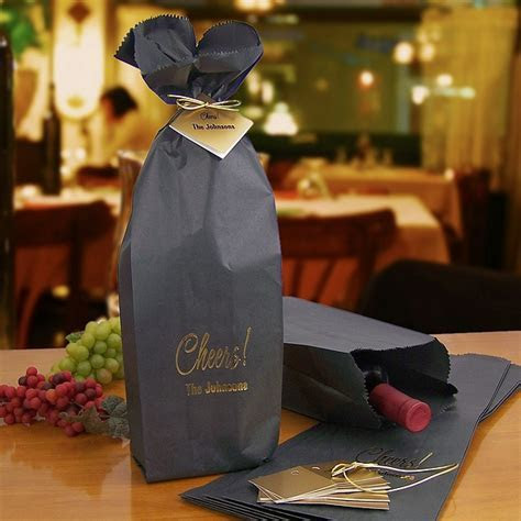 Wine Bottle Gift Bags Personalized   16 x 5 Black w/ Gift Tags