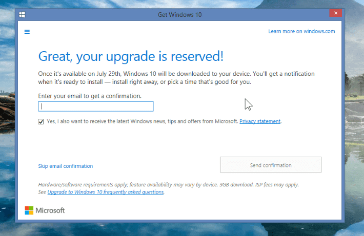 Great Windows 10 is reserved confirmation