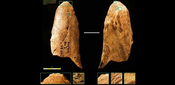 Ferramenta de osso descoberta em junho 2014 durante escavações na França