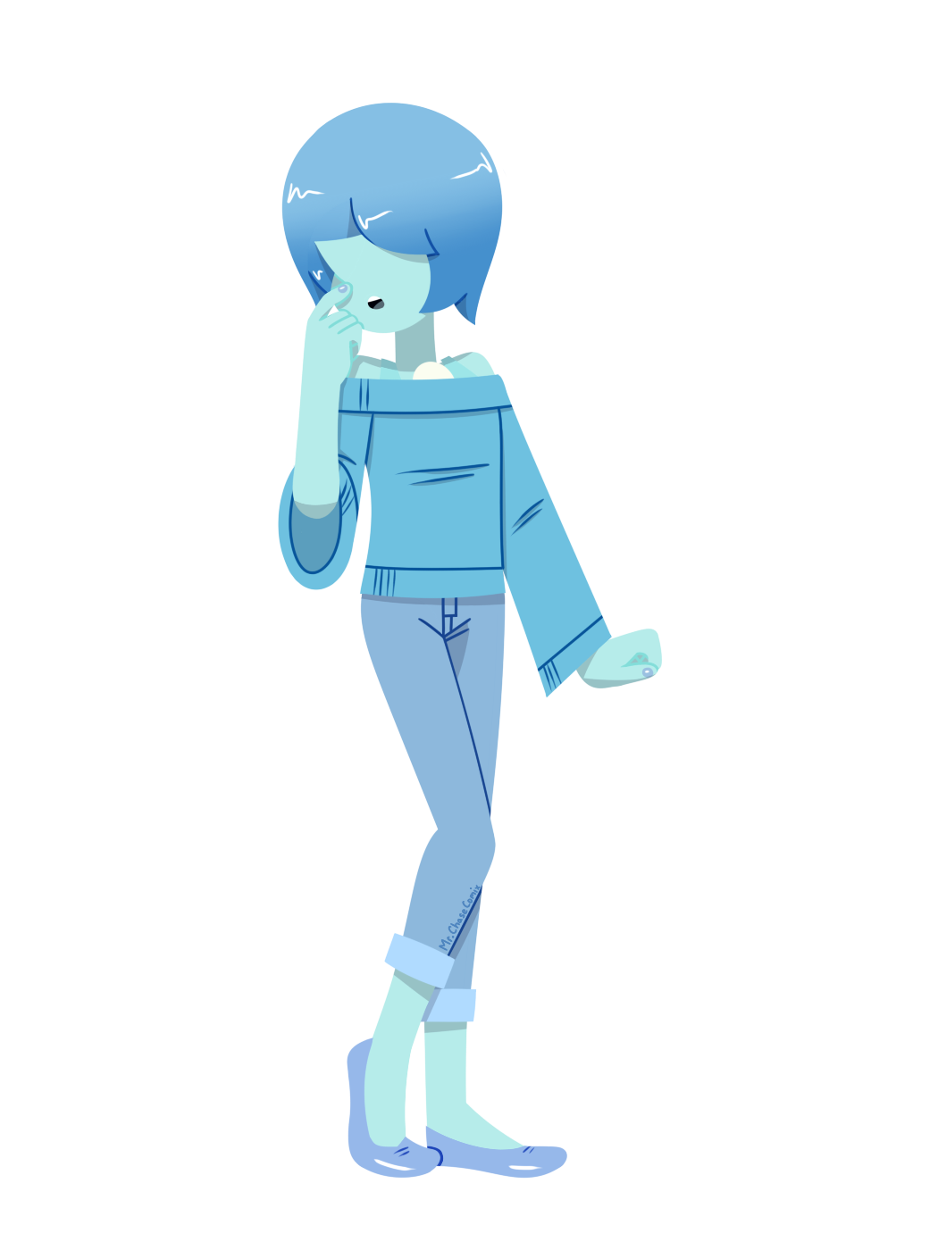 Casual Blue Pearl (Lineless) I was dying to draw the casual outfit again today. I also made it lineless because I need to practice more on that.