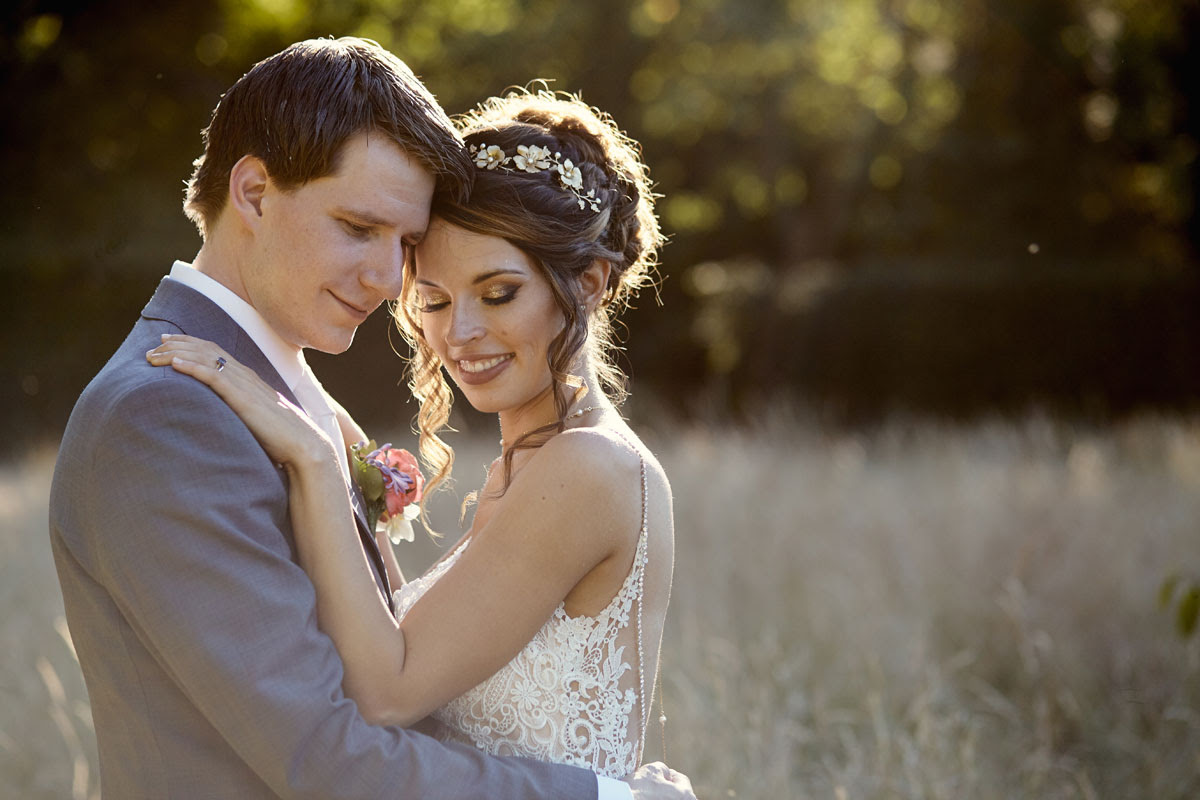 Stunning Suffolk Bride and groom in evening sunlight at Lanwades Hall Wedding Photos - helloromancephotography.com
