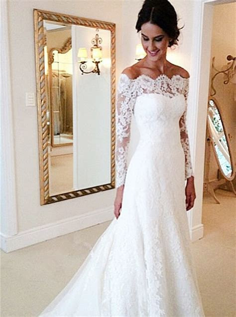 Mermaid Off the shoulder Court Train Ivory Lace Long