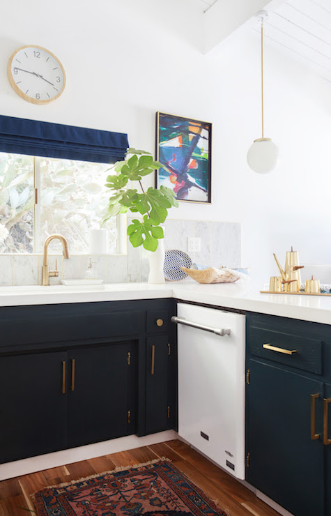 Navy Kitchen Cabinets - Eclectic - kitchen - Farrow and ...