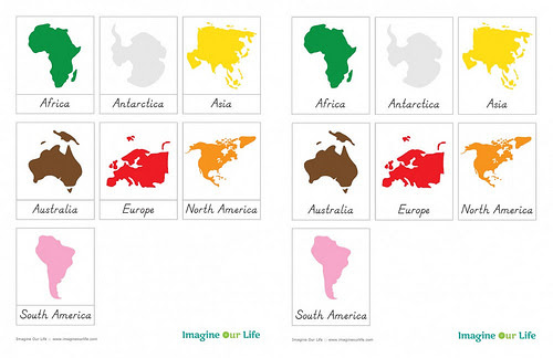 Montessori Continent Cards (Image from Imagine Our Life)