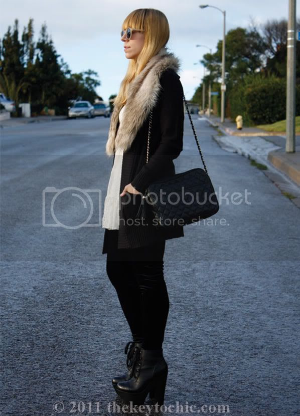 H&M faux fur stole, lace dress, Steve Madden Collosul boots, southern California fashion blog