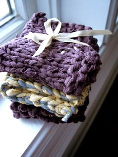 Recycle t-shirts into knitted dishcloths....I need to check this out.