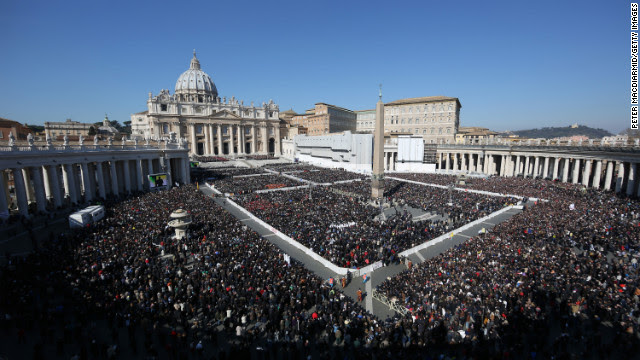 The faithful fill St. Peter's Square as Pope Benedict XVI attends his last public audience on Wednesday, February 27, in Vatican City. Benedict's decision to resign earlier this month caught a lot of Vatican watchers, apparently even some in his inner circle, off-guard.