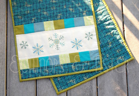 Detail of the Embroidered Snowflake Table Runner