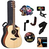 Yamaha A1M Acoustic-Electric Guitar with Yamaha Hard Case and Legacy Kit (Tuner, Picks, DVD and More)