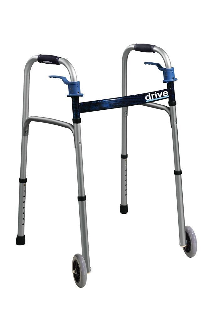 Amazon.com: Drive Medical Trigger Release Folding Walker, Brushed ...